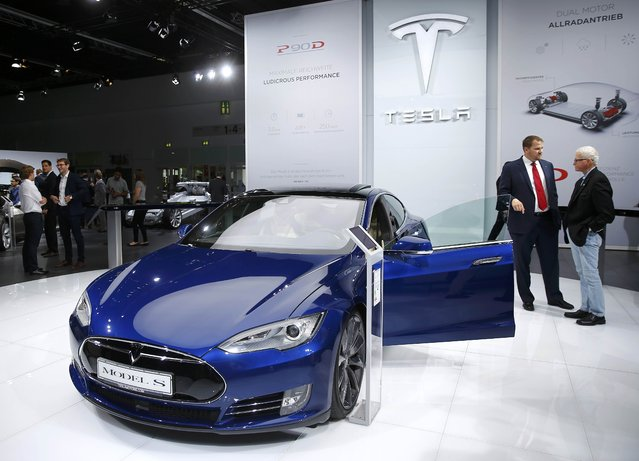 The Tesla Model S is presented during the media day at the Frankfurt Motor Show (IAA) in Frankfurt, Germany September 15, 2015. (Photo by Kai Pfaffenbach/Reuters)