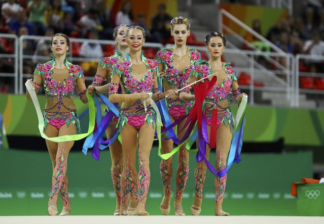 2016 Rio Olympics, Rhythmic Gymnastics, Final, Group All-Around Final, Rotation 1, Rio Olympic Arena, Rio de Janeiro, Brazil on August 21, 2016. Team Russia (RUS) compete using ribbons. (Photo by Mike Blake/Reuters)