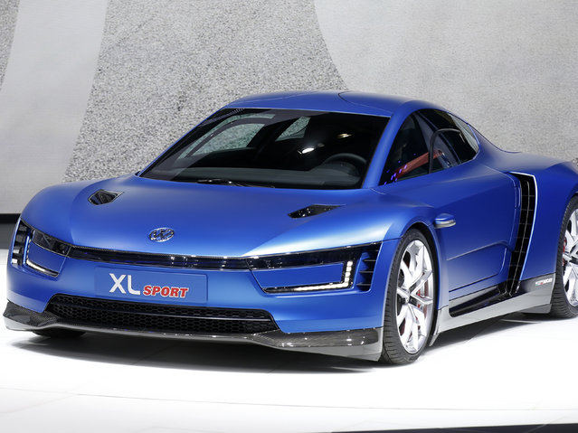 A Volkswagen XL Sport Concept car is displayed on media day at the Paris Mondial de l'Automobile, October 2, 2014. (Photo by Benoit Tessier/Reuters)