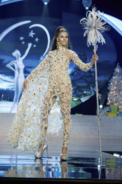 Miss Aruba Liza Helder on stage at the 2012 Miss Universe National Costume Show on Friday, December 14, 2012 at PH Live in Las Vegas, Nevada. The 89 Miss Universe Contestants will compete for the Diamond Nexus Crown on December 19, 2012. (Photo by AP Photo/Miss Universe Organization L.P., LLLP)
