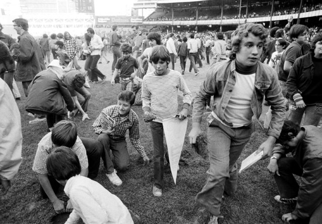 Fans attempt to take apart Yankee Stadium in New York City, on the last day of the season, September 30,1973. It was the last day of the old stadium, in use since 1923, prior to renovation which should take at least two years. (Photo by Richard Drew/AP Photo)