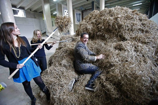 "Jean de Loisy, Palais de Tokyo director, hides a needle in a haystack before an art performance based on the expression ""looking for a needle in a haystack"" at the Palais de Tokyo modern and contemporary art museum in Paris November 13, 2014. Italian artist Sven Sachsalber will spend two days trying to find the needle in a large pile of hay. The search started today at midday and will continue until midnight, with a 12-hour break before it resumes. (Photo by Charles Platiau/Reuters)"