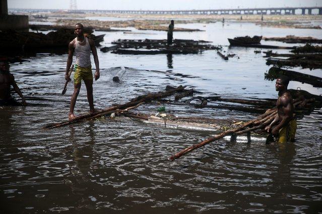 Men work to remove logs from the water near Okobaba sawmill at the edge of the Lagos Lagoon June 24, 2014. (Photo by Akintunde Akinleye/Reuters)