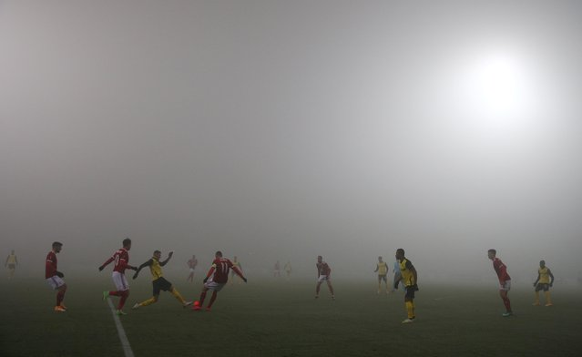 CSKA Sofia plays against Young Boys in the Europa League using an orange football amongst the foggy weather conditions at Vasil Levski National Stadium, Sofia, Bulgaria, November 26, 2020. (Photo by Stoyan Nenov/Reuters)