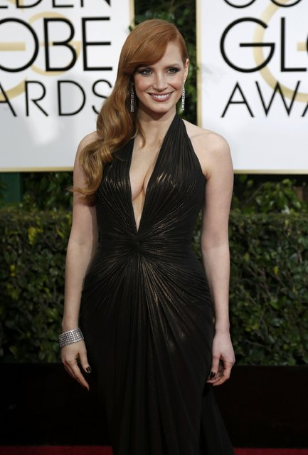 Actress Jessica Chastain arrives at the 72nd Golden Globe Awards in Beverly Hills, California January 11, 2015. (Photo by Mario Anzuoni/Reuters)