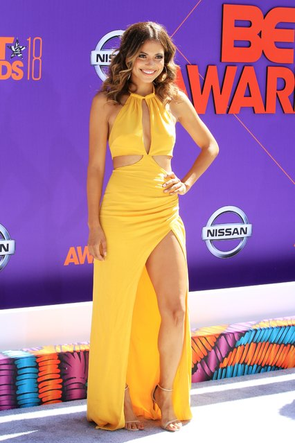 Jennifer Freeman arrives at the BET Awards at the Microsoft Theater on Sunday, June 24, 2018, in Los Angeles. (Photo by Leon Bennett/Getty Images)