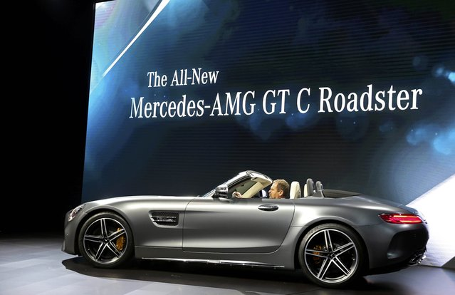 Tobias Moers, Chairman of the Board of Management for Mercedes-AMG introduces the 2017 AMG GT C Roadster at the 2016 Los Angeles Auto Show in Los Angeles, California, U.S November 16, 2016. (Photo by Lucy Nicholson/Reuters)