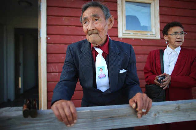 Inuk Lange attends the wedding party of his granddaughter Ottilie in Qeqertaq, on July 20, 2013. (Photo by Joe Raedle/Getty Images via The Atlantic)