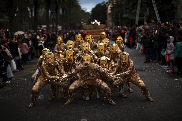 People perform during the traditional Epiphany parade in Malaga, southern Spain, January 5, 2016. (Photo by Jon Nazca/Reuters)