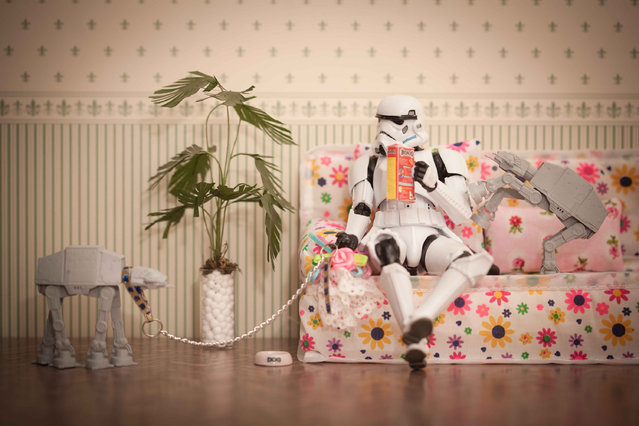 A storm trooper sits on the sofa with storm troopers, taken in Glasgow, Scotland, December 2016. (Photo by David Gilliver/Barcroft Images)