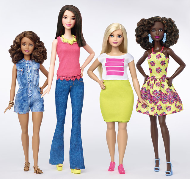 This photo provided by Mattel shows a group of new Barbie dolls introduced in January 2016. (Photo by Mattel via AP Photo)