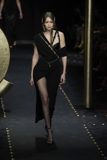 Model Gigi Hadid wears a creation as part of the Versace women's Fall-Winter 2019-2020 collection, that was presented in Milan, Italy, Thursday, Friday, February 22, 2019. (Photo by Luca Bruno/AP Photo)