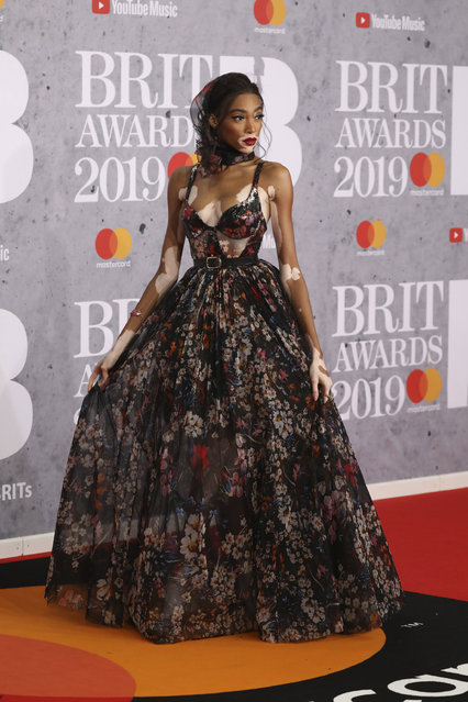 Model Winnie Harlow poses for photographers upon arrival at the Brit Awards in London, Wednesday, February 20, 2019. (Photo by Vianney Le Caer/Invision/AP Photo)