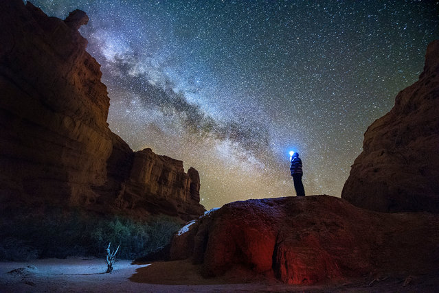 The deserts of Argentina take on a starring role in this photographer's breathtaking Milky Way shots. Amateur snapper Gonzalo Javier Santile, 46, spent the last two years capturing these rare shots of the galaxy as it arced over deserts in Salta Cafayate, Cordoba Valle de Punilla, Provincia de Buenos Aires and the Rio Negro province. In his pictures, the Milky Way can be admired as it towers over canyons, cacti, bushes, and even small brooks and lakes. (Photo by Gonzalo Javier Santile/Caters News Agency)