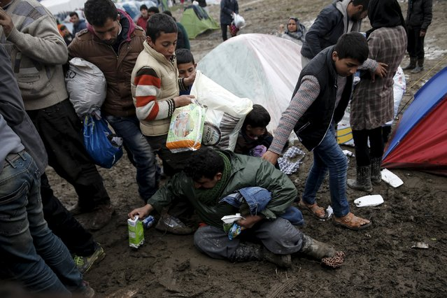 A man falls on the ground as refugees and migrants grab goods donated by volunteers from a truck at a makeshift camp at the Greek-Macedonian border, near the village of Idomeni, Greece March 16, 2016. (Photo by Alkis Konstantinidis/Reuters)
