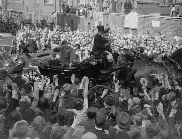 British military leader Field Marshal Bernard L. Montgomery, Viscount Montgomery of Alamein, waving as his carriage passes through crowds in the street celebrating VE Day, May 8, 1945. (Photo by Express/Express/Getty Images)