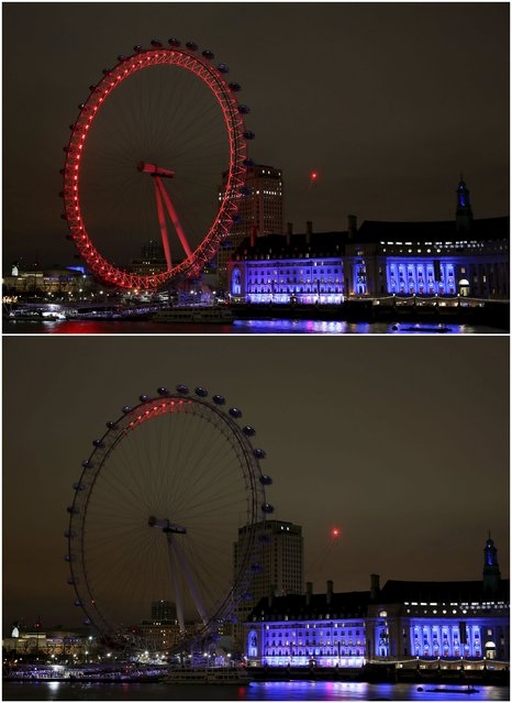 This combination picture shows the London Eye before (top) and after the lights were switched off for Earth Hour in London, Britain March 19, 2016. (Photo by Neil Hall/Reuters)