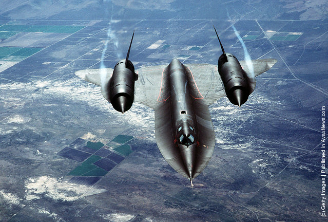 A U.S. Air Force SR-71A, also known as the Blackbird, is put through it's paces during a test flight