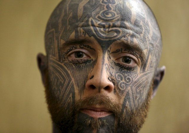 Tattoo enthusiast Cammy Stewart poses for a portrait during the Great British Tattoo Show in Alexandra Palace in north London, Britain May 23, 2015. (Photo by Neil Hall/Reuters)