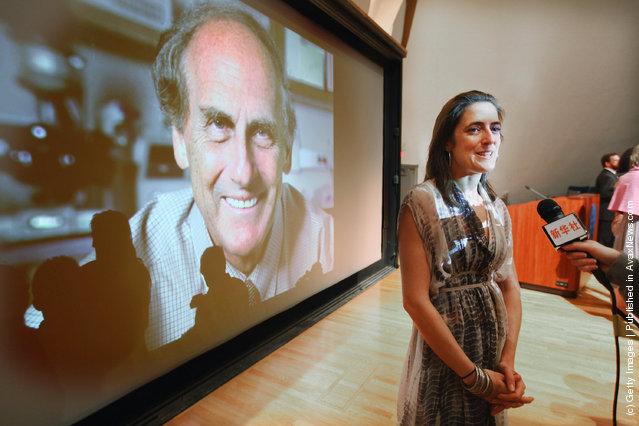Alexis Steinman, daughter of deceased 2011 Nobel Prize in medicine winner Ralph Steinman, speaks at a press conference