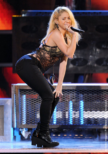Singer Shakira performs onstage during the 12th annual Latin GRAMMY Awards at the Mandalay Bay Events Center