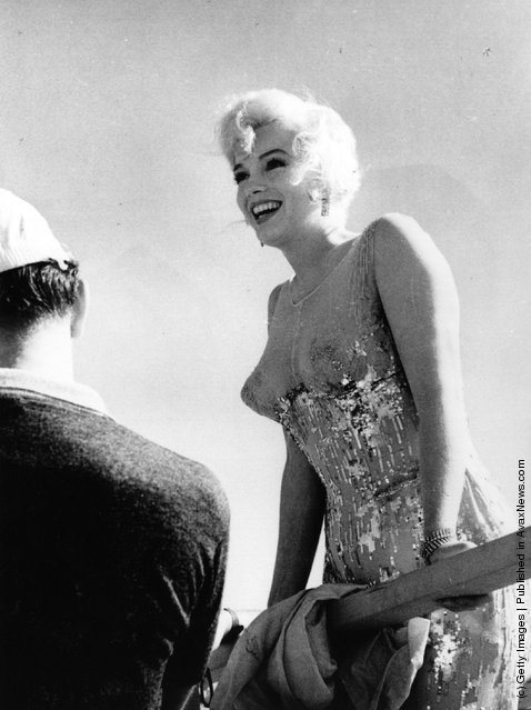 American film actress Marilyn Monroe (Norma Jean Mortenson or Norma Jean Baker, 1926 - 1962) in between shots on the set of 'Some Like It Hot', directed by Billy Wilder, 1959