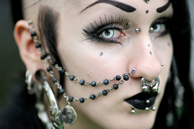 "Judith from Frankfurt attends the ""Wave-Gotik-Treffen"" (WGT, Wave Gothic Meeting) in Leipzig, Germany, 13 May 2016. The music and arts festival celebrates its 25th anniversary this year. Until Monday, the organisers expected roughly 20,000 visitors from Germany and other countries. (Photo by Jan Woitas/EPA)"