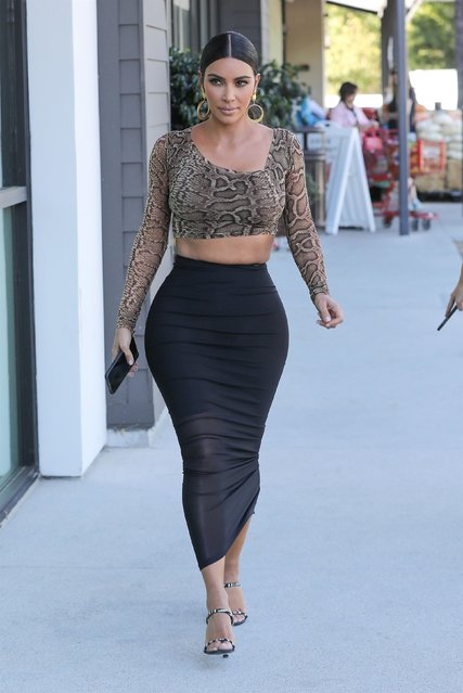 Kim Kardashian West shows off her curves as she stops by Ulta Beauty cosmetics store in Calabasas, CA. on October 22, 2019 to check on her KKW Beauty displays by Kim Kardashian West collection. (Photo by Backgrid USA)