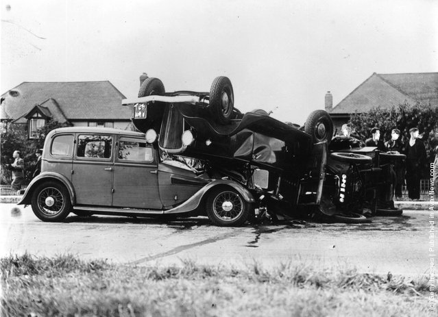 1939: A three car crash on the Kingston By-Pass, two of the cars are overturned