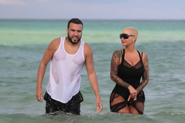 Amber Rose takes a swim in the ocean with singer French Montana in MIami Beach, Florida on Mother's Day, May 14, 2017. (Photo by Splash News and Pictures)