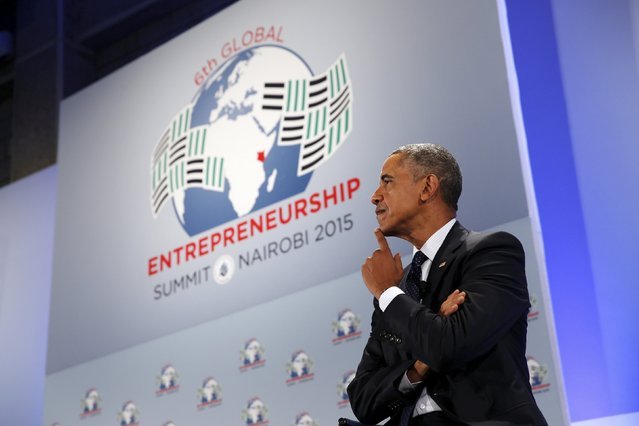 U.S. President Barack Obama takes part in a roundtable with young businesspeople at the Global Entrepreneurship Summit at the United Nations compound in Nairobi, Kenya July 25, 2015. (Photo by Jonathan Ernst/Reuters)