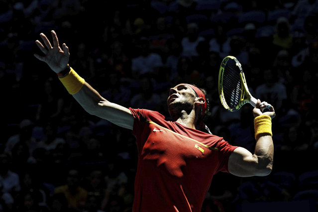 Rafael Nadal, of Spain, prepares to return against Japan's Yoshihito Nishioka during their ATP Cup tennis match in Perth, Australia, Wednesday, January 8, 2020. (Photo by Trevor Collens/AP Photo)