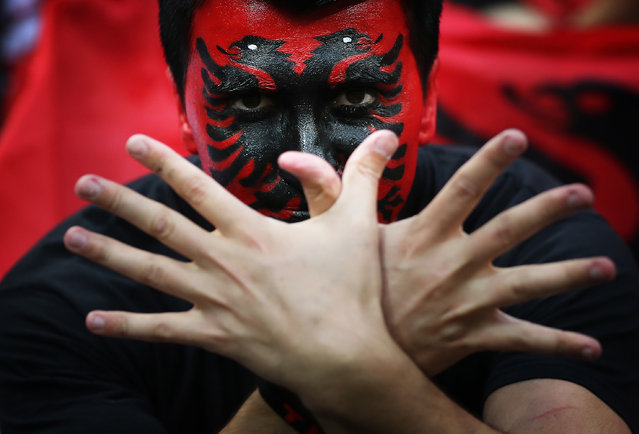 Albanian fans enjoy the atmosphere during the UEFA EURO 2016 Group A match between Romania and Albania at Stade des Lumieres on June 19, 2016 in Lyon, France. (Photo by Ian MacNicol/Getty Images)
