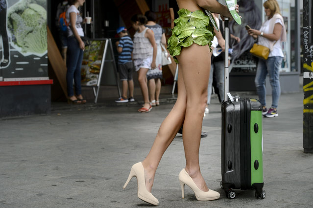 """One of the """"Lettuce Ladies"""", a group of PETA activists, stands during an event promoting a vegan lifestyle, downtown Bucharest, Romania, Monday, August 14, 2017. (Photo by Andreea Alexandru/AP Photo)"""