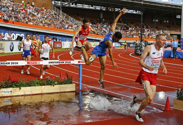 Athletics, European championships, Men's 3000m steeplechase qualifiaction, Amsterdam on July 6, 2016. Athletes compete during 3000m steeplechase. (Photo by Michael Kooren/Reuters)