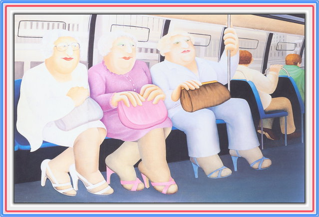 Bus Ride. Artwork by Beryl Cook