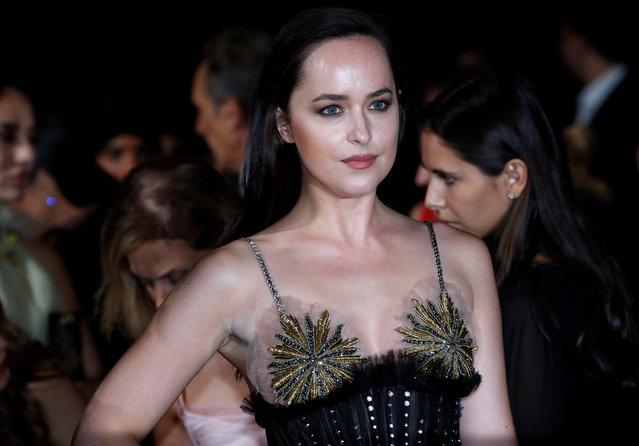 "Actor Dakota Johnson poses at the ""Green carpet Fashion Awards"" event during the Milan Fashion Week in Milan, Italy, September 24, 2017. (Photo by Stefano Rellandini/Reuters)"
