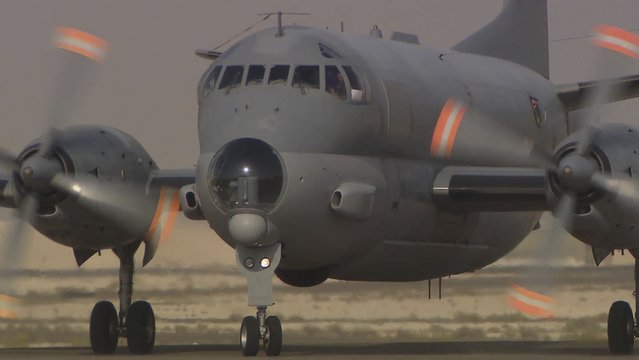 An Atlantique 2 maritime patrol aircraft is seen on the tarmac at Al-Dhafra airbase September 18, 2014 in this handout image today by ECPAD. France said on Friday its jets had launched strikes inside Iraq for the first time since the country promised to join military action against Islamic State insurgents who have taken over parts of the country. Picture taken September 18, 2014. (Photo by J. Brunet/Reuters/ECPAD/Armee de l'Air)
