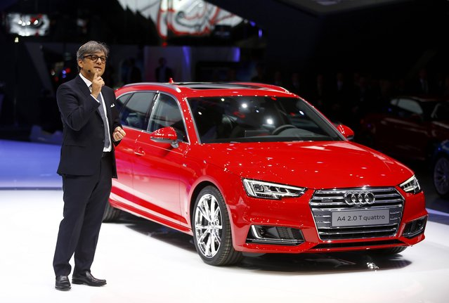 Audi Member of the Board Luca de Meo presents the Audi A4 2.0 T quattro car during the media day at the Frankfurt Motor Show (IAA) in Frankfurt, Germany, September 15, 2015. (Photo by Kai Pfaffenbach/Reuters)