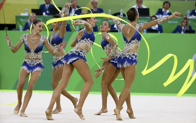 2016 Rio Olympics, Rhythmic Gymnastics, Final, Group All-Around Final, Rotation 1, Rio Olympic Arena, Rio de Janeiro, Brazil on August 21, 2016. Team Italy (ITA) compete using ribbons. (Photo by David Gray/Reuters)