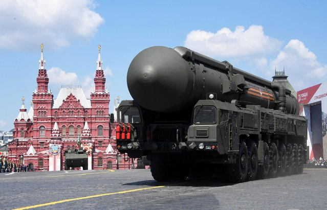 A Russian Yars intercontinental ballistic missile system drives during the Victory Day Parade in Red Square in Moscow, Russia, June 24, 2020. (Photo by Iliya Pitalev/Host Photo Agency via Reuters)