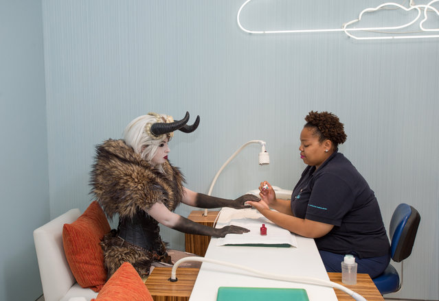 Crampus Queen from Netherworld Haunted House with Michelle Nicole Jackson, spa staff, at Bliss Spa at W Atlanta Downtown hotel on Thursday, October 7, 2014. (Photo by Hyosub Shin/AJC)