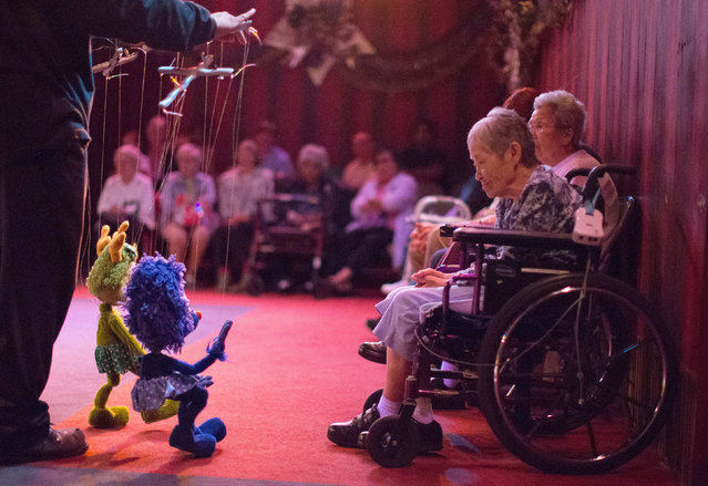 Jean Matsusaka, 84, smiles as a marionette waves to her during a performance at the Bob Baker Marionette Theater in Los Angeles, California October 17, 2014. The playhouse started in 1960, has 2,000 marionettes and is the oldest continually running marionette theater in the U.S. It was recently bought by a developer who wants to turn the historic landmark into a 104-unit apartment complex. (Photo by Lucy Nicholson/Reuters)