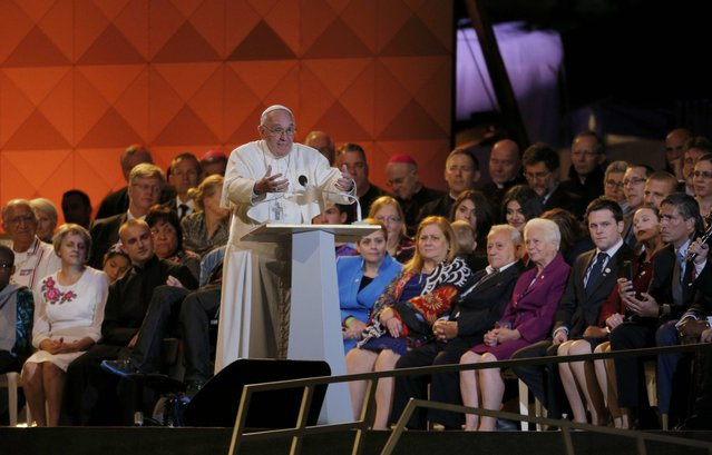 Pope Francis speaks at the Festival of Families in Philadelphia, Pennsylvania September 26, 2015. (Photo by Brian Snyder/Reuters)