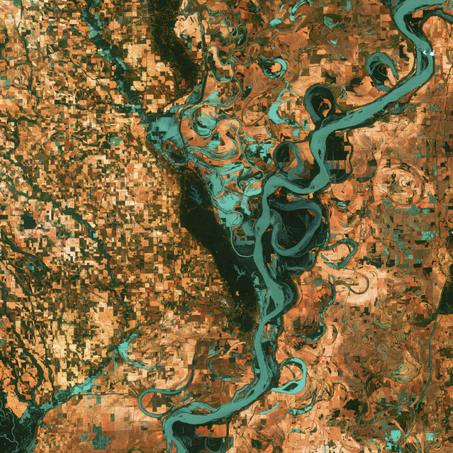 "Meandering Mississippi. Small, blocky shapes of towns, fields, and pastures surround the graceful swirls and whorls of the Mississippi River. Countless oxbow lakes and cutoffs accompany the meandering river south of Memphis, Tennessee, on the border between Arkansas and Mississippi, USA. The ""mighty Mississippi"" is the largest river system in North America. This image, taken by Landsat 7 on May 28, 2003, won 3rd place in the online ""Earth as Art"" competition to celebrate the 40th anniversary of the Landsat satellite program. (Photo by NASA/GSFC/USGS EROS Data Center)"