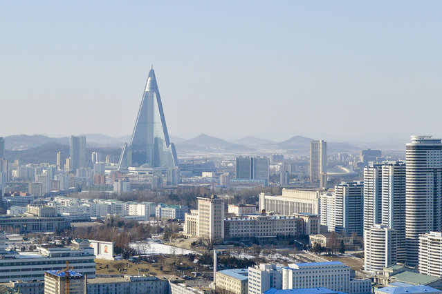 The new Ryugyong hotel in the capital in February 2013, in Pyongyang, North Korea. (Photo by Andrew Macleod/Barcroft Media)