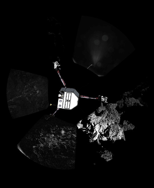 A panoramic image of the surface of Comet 67P/Churyumov-Gerasimenko captured by Rosetta's lander Philae's CIVA-P imaging system, with a sketch of the lander in the configuration the lander team currently believe it is in superimposed on top, is seen in this European Space Agency (ESA) handout image released November 13, 2014. (Photo by Reuters/ESA/Rosetta/Philae/CIVA)