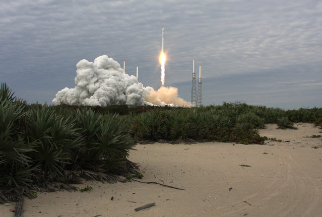 The SpaceX Falcon 9 rocket with the Dragon capsule, lifts off from the Cape Canveral Air Force Station on a second resupply mission to the International Space Station in Cape Canaveral, Florida, on March 1, 2013. (Photo by Scott Audette/Reuters/The Atlantic)