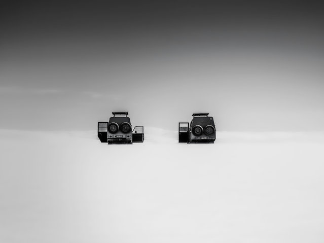 Open travel and US national award third-place winner: Richard Winston. The US winner's stark image, taken in an apparently mysterious location is titled Mystery Jeeps. (Photo by Richard Winston/Sony World Photography Awards 2018)
