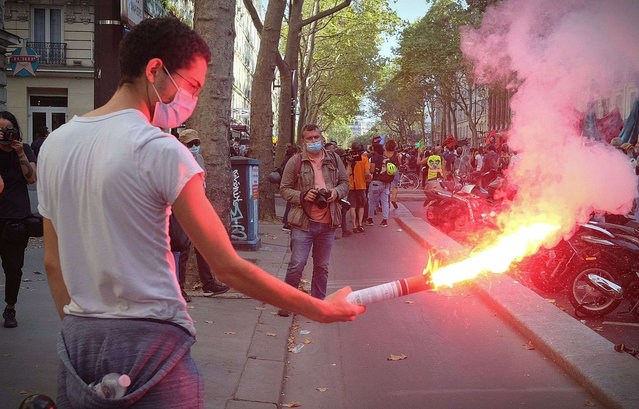 People participating in the protest in Paris, France for the national strike on September 17, 2020. (Photo by Alfonso Jimenez/Rex Features/Shutterstock)